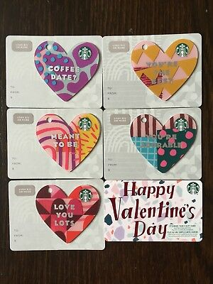"""Canada Series Starbucks """"HAPPY VALENTINES SET 2019""""(6) Gift Cards - New No Value"""