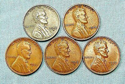 (1) 1943 D Lincoln Steel Cent & (4) Copper Wheat Varies Date and mint *3390A