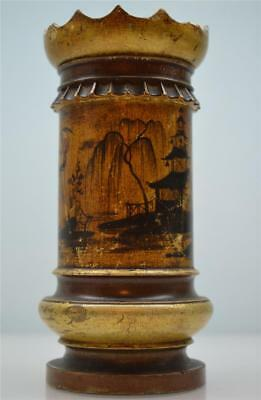 an unusual antique 19thC oriental lacquered gilt-wood brush washer pot/vase