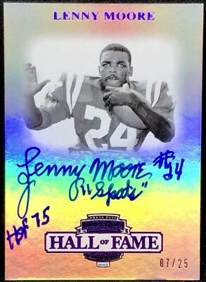 LENNY MOORE 2012 Press Pass Hall of Fame AUTO AUTOGRAPH SP #07/25 INSCRIBED HOF+