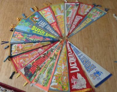 "Vintage Travel Pennants 50's - 60's Lot of  15   30"" Long"