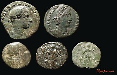 LOT OF 5 VERY FINE Ancient ROMAN  BRONZE COINS