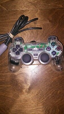 Official Sony PlayStation PS1 Clear Scph-1200 Dual Shock Analog Controller
