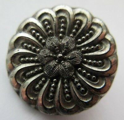 "Dazzling Antique~ Vtg Victorian Black GLASS BUTTON Silver Luster Flower 1"" (Z)"