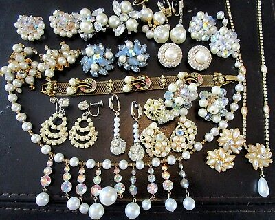 Beautiful Lot of Vintage Rhinestone Faux Pearl Jewelry Designer Signed & MORE!