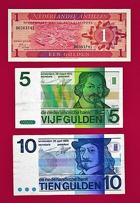 3 NETHERLANDS NOTES: 1 Gulden 1970, 5 Gulden 1973 P-95a, & 10 Gulden 1968 P-91a
