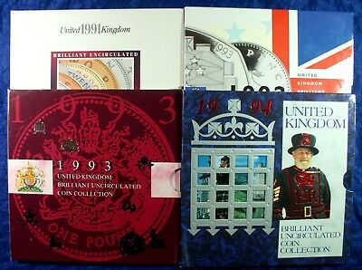 1991-1994 Great Britain Copper Nickel Coin Mint Sets - 4 Sets