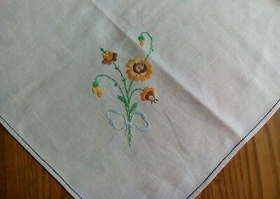 "PRETTY VINTAGE 30""x32"" LUNCHEON TABLECLOTH ~ HAND EMBROIDERED"