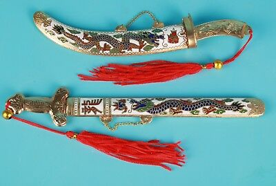 2 Unique Chinese Cloisonne Enamel Letter Opener Old Handmade Mascot Collec Gift