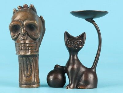 2 Rare Bronze Skull Head Crutches Head Copper Cat Statue Old Antique Collection