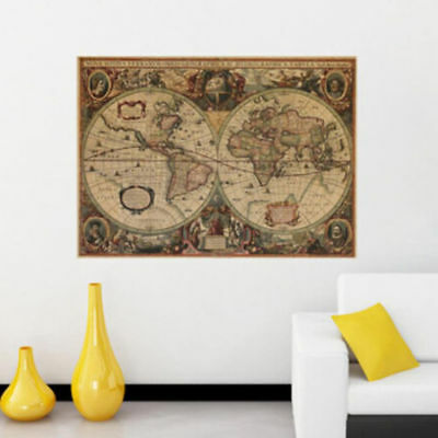 Retro Cloth Poster Globe Old World Nautical Map Vogue Living Romm Ornament LS
