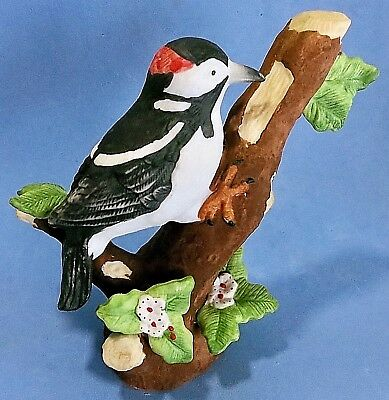 Lovely Male Downy Woodpecker Figurine by Russ Bisque Porcelain Natures Song