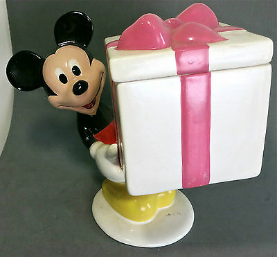 Mickey Mouse Ceramic Standing Trinket Box Candy Dish or Cookie Jar by Teleflora