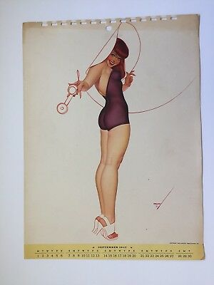 PETTY - SEP  1947  art illustrated  PIN-UP/CHEESECAKE  model  CALENDER  page