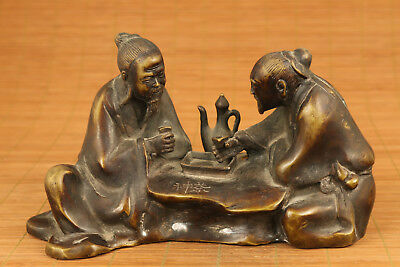 Big chinese old bronze hand carved Elder tea ceremony statue collectable gift