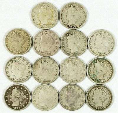 "14x 1899-1912 Liberty ""V"" Nickels - VG/F - Date Run - 14 Different Dates"