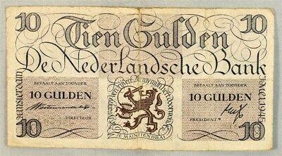 Netherlands 1945 Issue 10 Gulden Note - Fine - Pick# 74