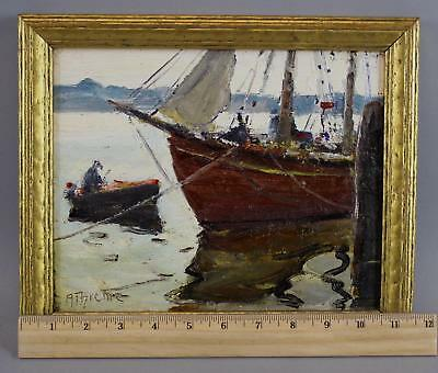 Small Antique ANTHONY THIEME Rockport MA Fishing Boat Impressionist Oil Painting