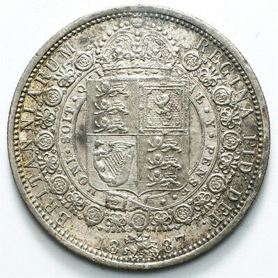 1887 Great Britain ½ Crown of Victoria - XF/AU Detail - KM# 764 - .925 Silver