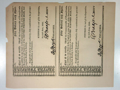Pennsylvania, Centre Turnpike Road uncut pair, 1821 dated, I/U  for 1 Share each