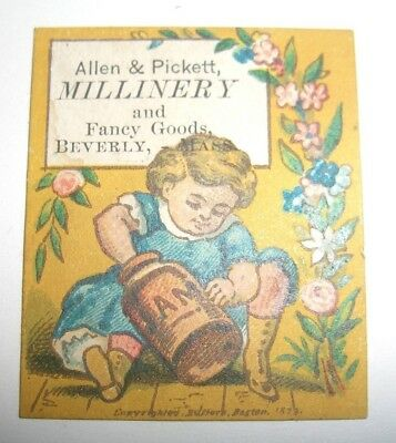 Tiny Antique Victorian Trade Card Allen & Pickett Millinery Beverly Mass