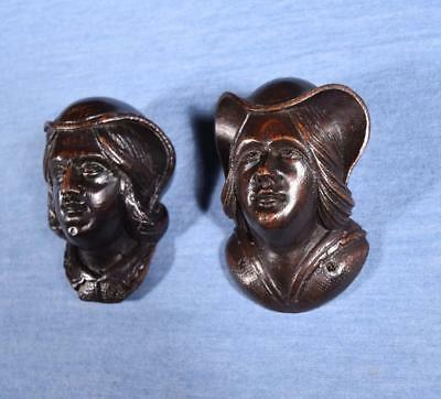 *Pair of Antique French Carved Oak Wood Heads Salvage Trim