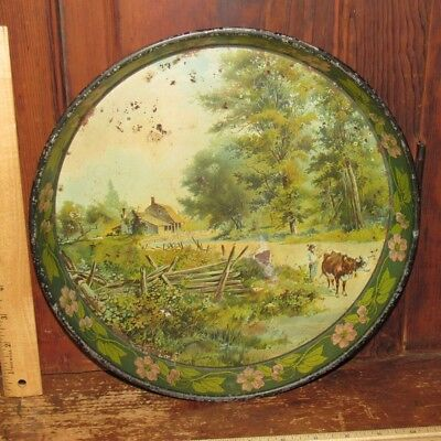 "Antique 12"" Art Nouveau Tin Litho Tray - Farmer Cow Country Home Scene-Floral"