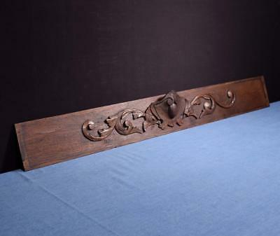 """*41"""" French Antique Hand Carved Architectural Panel Solid Oak Wood Salvage"""
