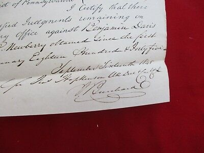 1845 Francis Hopkinson signed Pa.,Legal Court handwritten attic find Document!!!