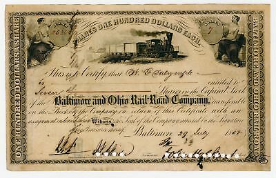 Baltimore & Ohio Rail Road Co 1858 Stock Cert Sign by John Hopkins as President.