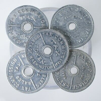 State Of Washington Tax Token Lot of 5, Tax on Purchases, 10 Cents or Less