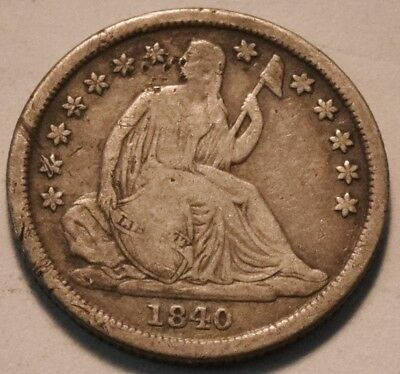 1840 O Seated Liberty Dime, Middle Grade Details, Scarce Date Coin, Silver 10C