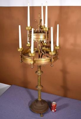 """48"""" Tall Antique French Bronze Gothic Revival Church Candlestick/Candelabra"""
