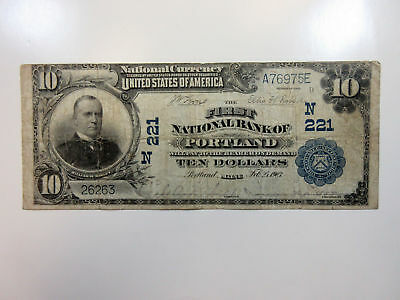 Maine. First National Bank of Portland. 1902 PB $10 CH#221 N, F/VF Touching top