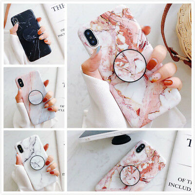 iPhone 7 8 Plus X XR XS Max TPU Cute Marble Case Covers With Pop Up Holder Stand