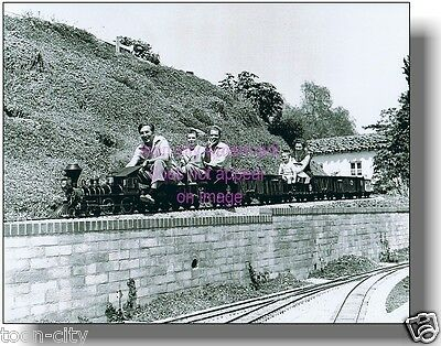 Walt Disney 1940's riding the Lilly Belle backyard Steam Train NEW 8x10 photo