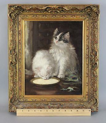 19thC Antique Victorian Oil Painting Kittens Cats Drinking Milk, Peacock Feather