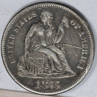 1875 Seated Liberty Dime XF Love Token, Engraved Initials Reverse