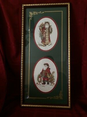 Homco Santa Picture - 2 Santa Prints in Oval Matte W/Box #5429-AO 1990's