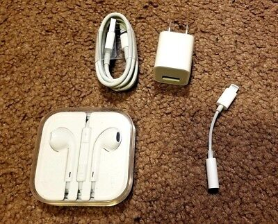 New Genuine Apple iPhone Accessories - Lightning Charger, Earbuds, and Adapter