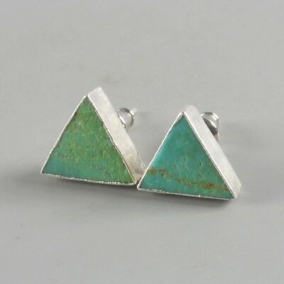 10mm Triangle Natural Genuine Turquoise Stud Earrings Silver Plated T073699