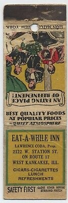 West Kankakee Il Safety First Matchbook - Eat-A-While-Inn