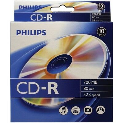 Philips CR7D5BB10/17 700MB 80-Minute CD-Rs, 10-ct Peggable Box