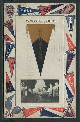 OH Wooster LITHO PC 1911 COLLEGE PENNANT GREETINGS Yale MICHIGAN Cornell PENN