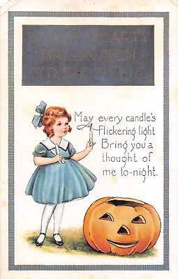 c.1920 Girl with Candles & Jack O Lantern Halloween post card Whitney as is