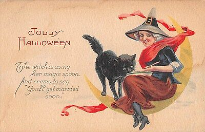 c.1910 Witch on Crescent Moon with Black Cat Jolly Halloween post card