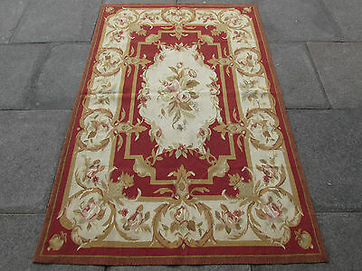 Old Hand Made French Design Original Wool 6x4 Maroon Brown Aubusson 186X122cm