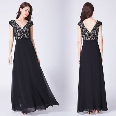 Ever-Pretty Maxi Black Cocktail Evening Party Dresses Long Lace Prom Gowns 07344