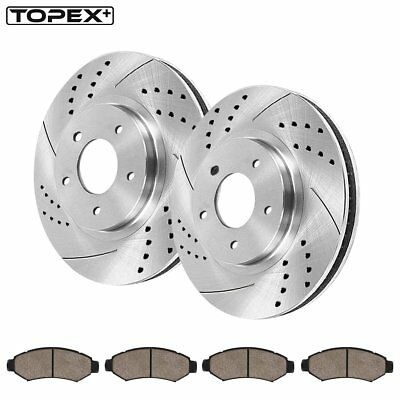 Front Brake Discs Rotors and Ceramic Pads For Dodge Grand 2001-2007 Drill /& Slot