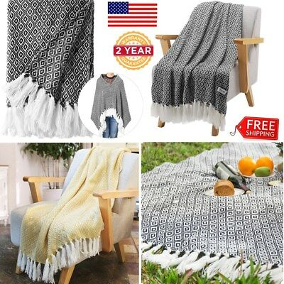 LANGRIA Wearable Knitted Tasseled Fringe Throw Blanket Sofa Coach Bed Soft Warm